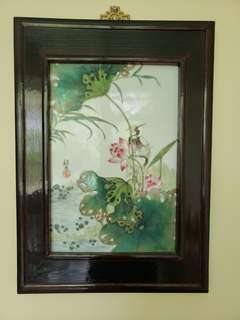Ceramic tile hand painting with wooden frame