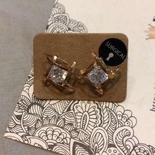 🚚 方形水鑽設計款耳環