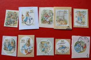 包平郵 日本郵票:彼得兔PETER RABBIT 80日元 10全