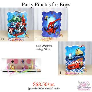 Birthday Pinatas for Boys - Avengers, Spiderman, Cars