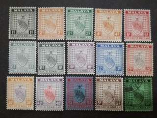Malaya 1935 Negri Sembilan Arm Loose Set Up To $1 - 13v Mint & 2v Used Stamps