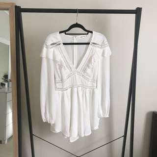 Showpo White Long Sleeve Playsuit