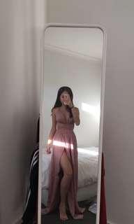 Pink Wrap Formal Dress