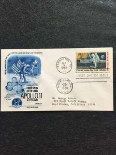 US 1969 Moon Landing Airmail Fleetwood FDC stamp