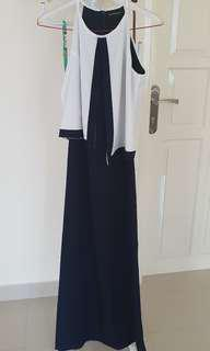 Long dress executive blue and white