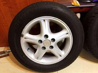 Toyota原廠鋁圈5孔100,185/65/14輪胎,1組4輪鋁圈加胎全部2000