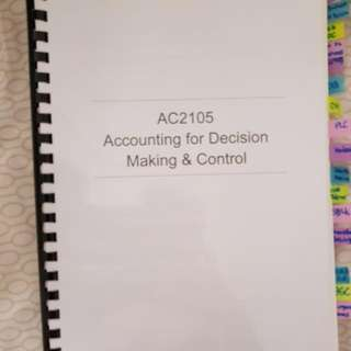 AC2105 ACCOUNTING FOR DECISION MAKING & CONTROL