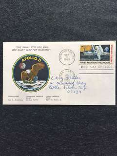 US 1969 Moon Landing Airmail Apollo 11 Cachet FDC stamp