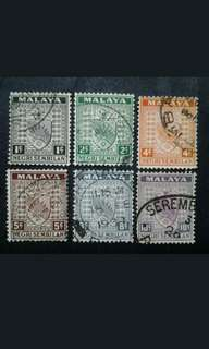Malaya 1935 Negri Sembilan Arm Loose Set 1c To 10c - 6v Used Stamps