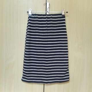 🚚 深藍棉質細條紋窄裙長裙
