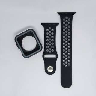 Free Mailing! Apple Watch Sport Strap + Cover 42mm - Black & Gray