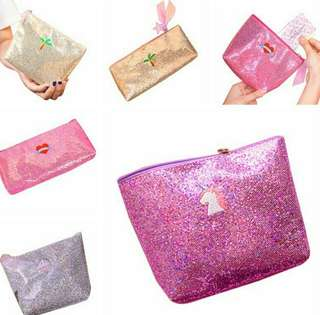Embroidered sequin pencil case