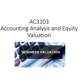AC3103 Accounting Analysis and Equity Valuation