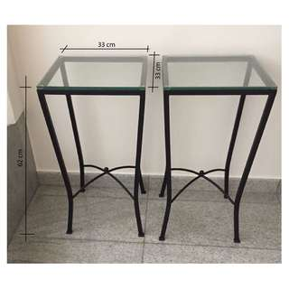 Metal tables stand with glass top