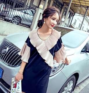 Minimei追加款✪韓系韓版復古宮廷風撞色壓褶荷葉邊連衣裙寬鬆輕薄喇叭袖a字裙度假裙