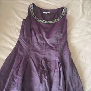 Shimmery Purple Dress with Jeweled Neckline