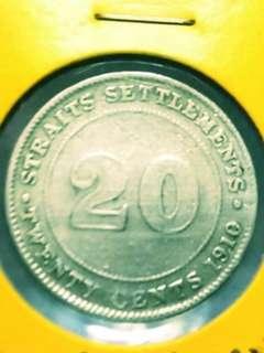 20 Cents Straits Settlements 1910(Silver)