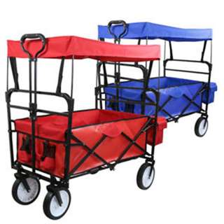 🚚 *In Stock*Folding Wagon W/ Canopy Garden Utility Travel Collapsible Cart Outdoor Yard