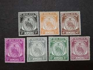 Malaya 1949 Negri Sembilan Arm Loose Set - 7v MNG Stamps