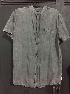 Dark Washed Denim Polo Buttondown Shirt