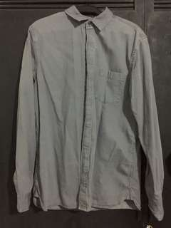 Grey Denim Polo Buttondown Shirt