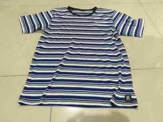 tshirt striped rumble kustom white blue original