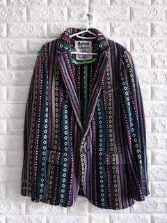 古著民族風一粒扣翻領工藝西裝外套   Vintage Aztec Pattern Hybrid Outfitters crafted Jacket