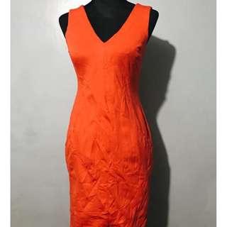 Orange Casual Work Dress