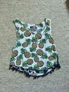 Pineapple print top with Pom Pom hem