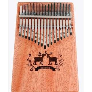 Kalimba 17 keys with Instruction and Tune Hammer, Portable Thumb Piano (Deer Design)