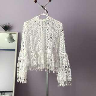 White frilly long sleeve
