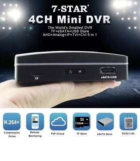 World's Smallest Mini 4 Channel Full-HD Hybrid 6 in 1 Digital Video Recorder - 4CH CCTV Security All in One DVR (7-STAR*) - SUPPORT:ANALOG/960H/720P/960P/1080P/TVI/CVI/AHD/IP/XVI CCTV Camera APP:XMEYE