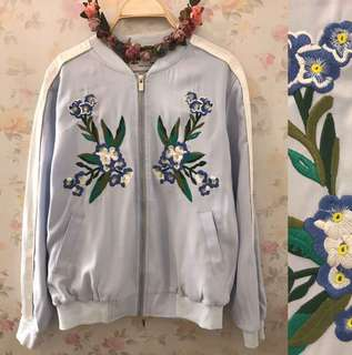 Baby Blue Embroidered Bomber Jacket