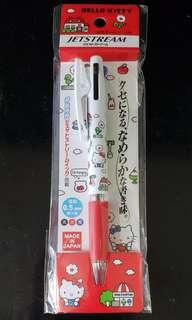 日本直送 Hello Kitty 日本製 Jetstream 三色筆 連夾