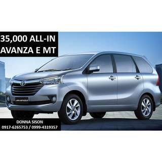Toyota Avanza E for 35,000 All-in Cash out