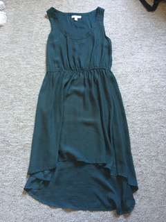 Dark green dress asymmetrical hem