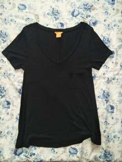 Black Shirt - Low Neckline