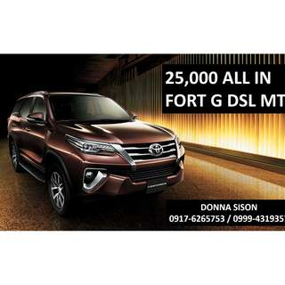 Toyota Fortuner G for 25,000 All-in Cash out