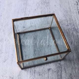 [Sellabrations] Square Gold Geometric Glass Ring Holder Jewelry Box