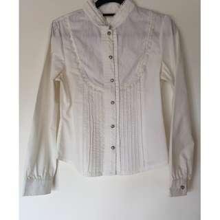 法式宮廷風挺版白襯衫