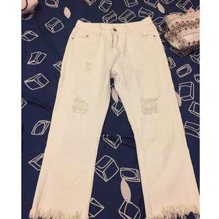 💟二手💟白色流蘇刷破牛仔褲