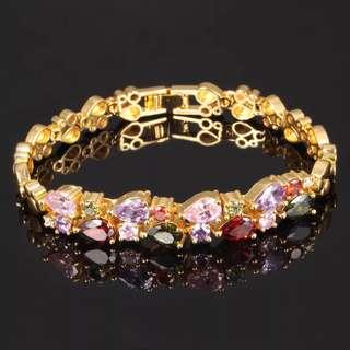 🚚 雙層多色彩鑽手環(全新)