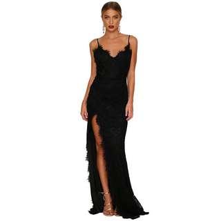 Black Lace Floor Length Maxi