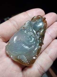 雙面滿功天然緬甸A貨翡翠   放光老坑玻璃藍水帶蜜糖