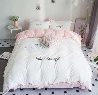 Hello Beautiful 4 Pcs Bedding Quilt Bedsheet Pillow case