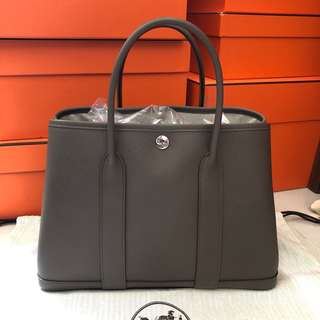 Hermes Garden Party 30cm 8F Etain Epsom leather c stamp