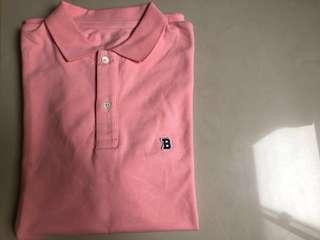 Beams 短袖粉紅polo衫 M
