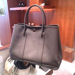 Hermes Garden Party 30cm 8F Etain epsom leather