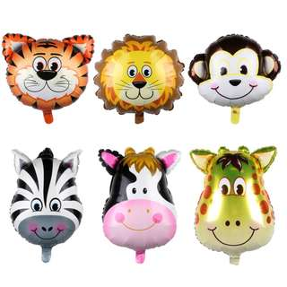 6 pcs MINI SAFARI JUNGLE ANIMAL HEAD SHAPE BALLOON