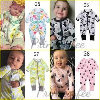 🚚 📮 Free Mail • (0-18M) Baby Newborn Bonds inspired Wondersuit Zip Up Zipper Zipped up Sleepsuit Footed Integrated mittens cotton-On Zip sleepsuits longsleeve Jumpsuit